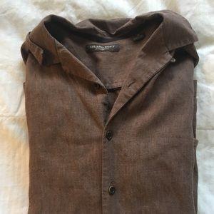 Men's Brown Button Down Linen Shirt